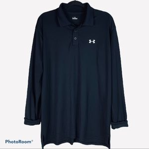 Under Armour Black Long Sleeve Polo Size Large